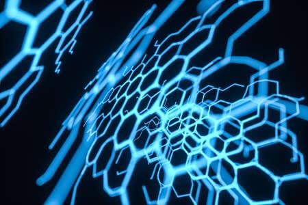 Blue hexagon and glowing lines crossed, 3d rendering. Computer digital drawing.