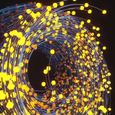 Swirling swirls with gradient lines, 3d rendering. Computer digital drawing. Zdjęcie Seryjne - 128942397