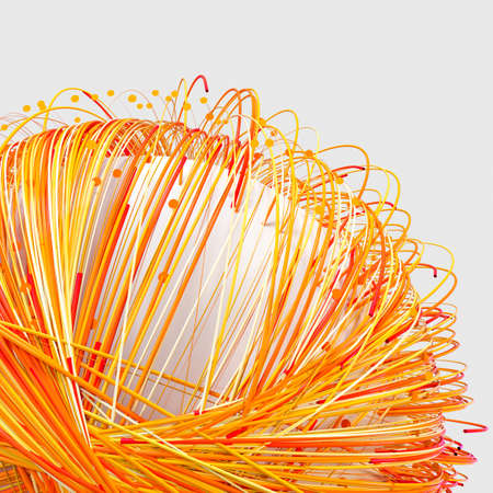 Orange twirl lines with white background, 3d rendering. Computer digital drawing.