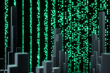 Glowing digital lines with dark background, 3d rendering. Computer digital drawing.
