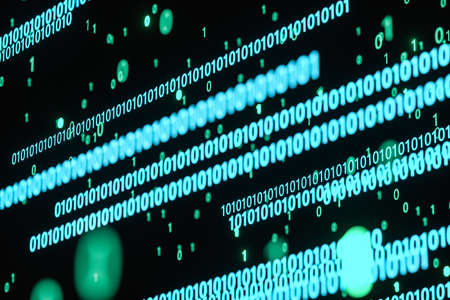 Glowing binary digit with dark background, 3d rendering. Computer digital drawing.