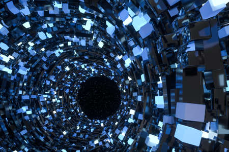 Tunnel made of blocks, technology background, 3d rendering. Computer digital drawing. Banco de Imagens - 130784509