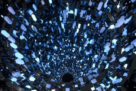 Tunnel made of blocks, technology background, 3d rendering. Computer digital drawing. Banco de Imagens - 130784556