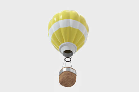 Yellow hot-air balloon with white background, 3d rendering. Computer digital drawing.