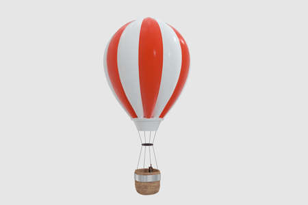 Red hot-air balloon with white background, 3d rendering. Computer digital drawing.