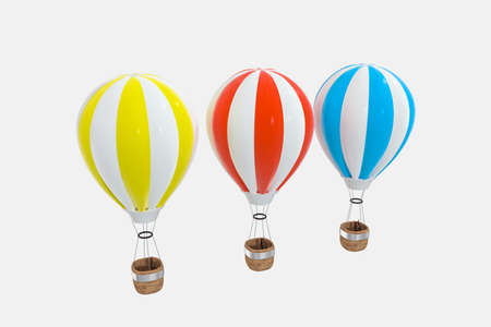 colorful hot-air balloon with white background, 3d rendering. Computer digital drawing.