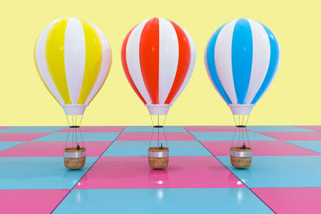 Multiple hot-air balloon with colorful background, 3d rendering. Computer digital drawing.