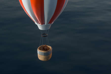 Hot air balloon flying over the ocean, 3d rendering. Computer digital drawing.