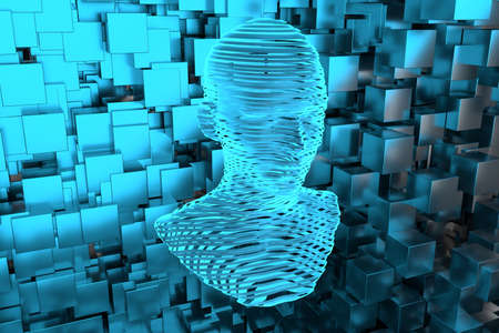 The head of the virtual robot with concepts of artificial intelligence, 3d rendering. Computer digital drawing. Stock Photo