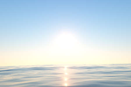 Ocean and sunshine, the beauty of nature, 3d rendering. Computer digital drawing. Stock Photo