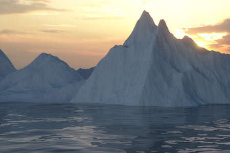 Ocean and sunshine coming from the side of iceberg, 3d rendering. Computer digital drawing.