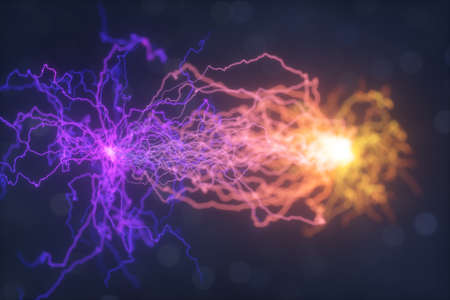 Power electrical energy and lightning spark, 3d rendering. Computer digital drawing.