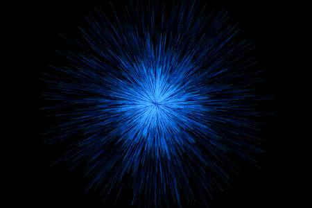 Blue glowing radial lines, magical lines, 3d rendering. Computer digital drawing.