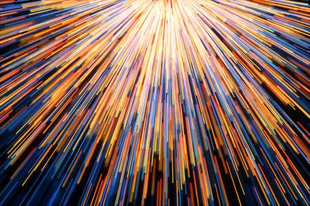 Golden glowing radial lines, magical lines, 3d rendering. Computer digital drawing. Stock fotó