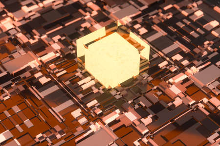 Circuit board with glowing cube and lines, 3d rendering. Computer digital drawing.