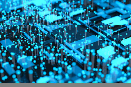 Circuit board with glowing cube and lines, 3d rendering. Computer digital drawing. Stok Fotoğraf - 131365309