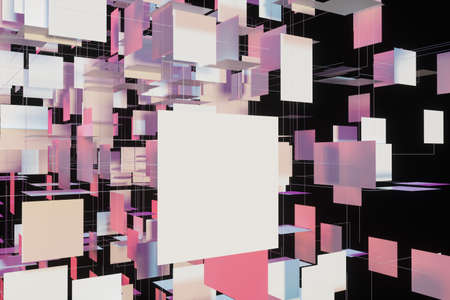 A three-dimensional space composed of square planes, 3d rendering. Computer digital drawing.