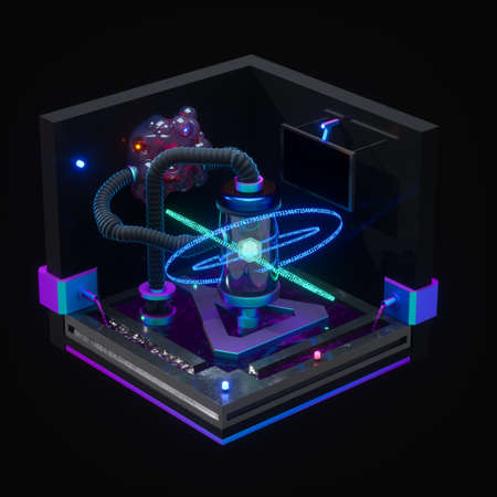 A dark chemistry manufacture workshop, 3d rendering. Computer digital drawing.