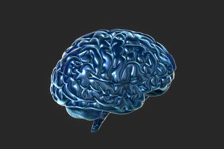 Brain and dark background, 3d rendering. Computer digital drawing.