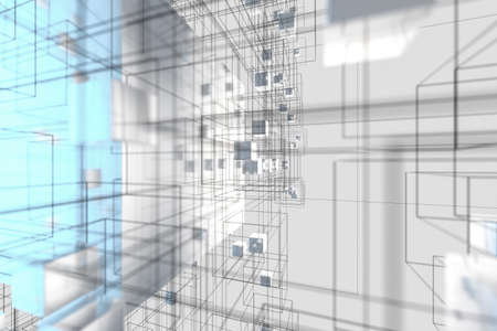 Technology background make up with cubes and lines, 3d rendering. Computer digital drawing.