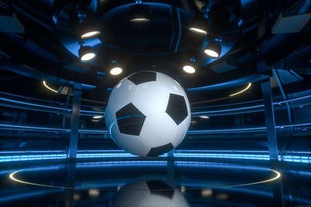 Football and indoor arena scenes, 3d rendering. Computer digital drawing.