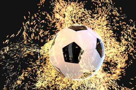 Burning football with dark background, 3d rendering. Computer digital drawing. Stok Fotoğraf