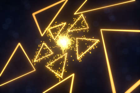 Glowing triangles and particles with dark background, 3d rendering. Computer digital drawing.