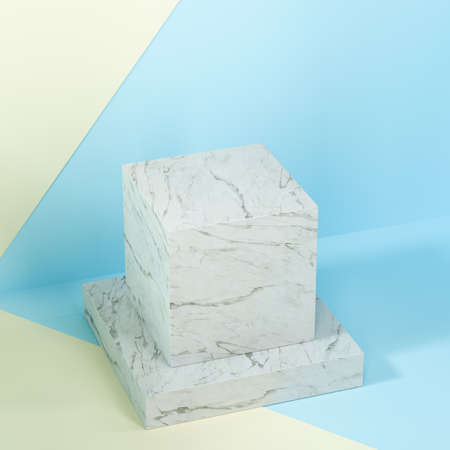 Square platform with solid color background, 3d rendering. Computer digital drawing. Stok Fotoğraf