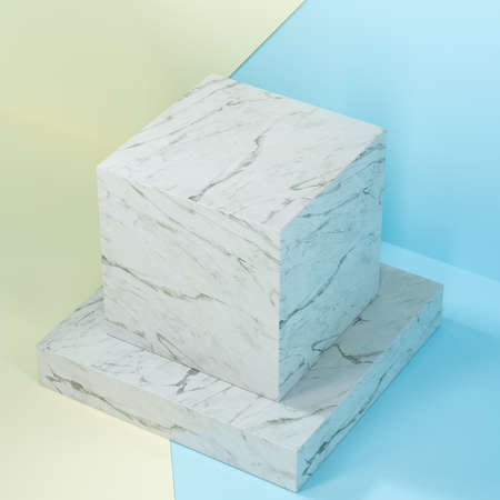 Square platform with solid color background, 3d rendering. Computer digital drawing. Фото со стока