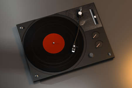 The dark vinyl record player on the table, 3d rendering. Computer digital drawing.