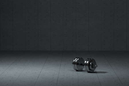 Dumbbells with concrete background, fitness theme, 3d rendeirng. Computer digital drawing.
