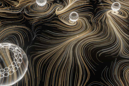 Vortical line pattern, glowing particles trails, 3d rendering. Computer digital drawing. Фото со стока