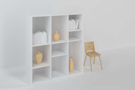Cabinet with books and vases inside in the empty new house, 3d rendering. Computer digital drawing.