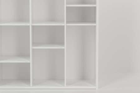 Empty cabinet in the empty new house, 3d rendering. Computer digital drawing. Banco de Imagens