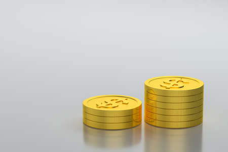 The dollar coins with white background, 3d rendering. Computer digital drawing.