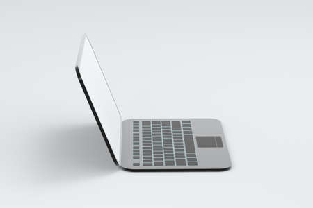Laptop with white background, technological concept, 3d rendering. Computer digital drawing.