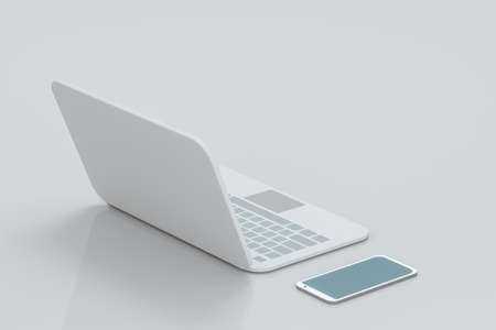 Laptop and phone with white background, technological concept, 3d rendering. Computer digital drawing.