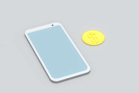 Mobile with white background, smart mobile phone,3d,rendering.Computer digital drawing.