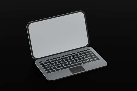 Laptop with black background, technological concept, 3d rendering. Computer digital drawing.