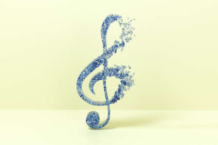 Blue music notes with yellow background, 3d rendering. Computer digital drawing.