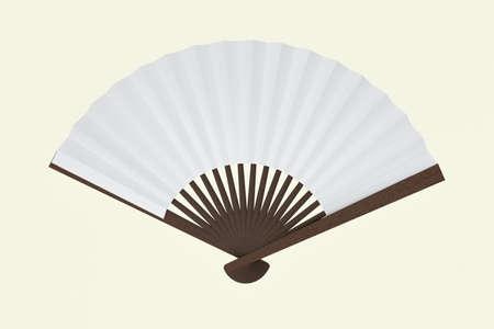 Ventiladores con fondo blanco, decoración de estilo chino, renderizado 3D. Dibujo digital por computadora.