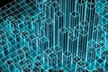 Cubos y líneas con fondo oscuro, renderizado 3d. Dibujo digital por computadora.