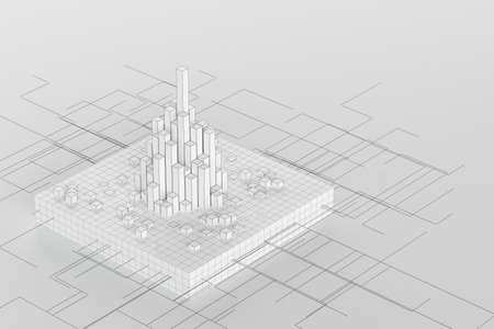 Cubes and lines with white background, 3d rendering. Computer digital drawing. Banco de Imagens