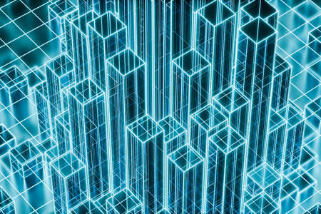 Cubes and lines with dark background, 3d rendering. Computer digital drawing.