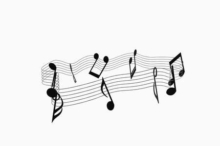 Black music notes with white background, 3d rendering. Computer digital drawing. Banco de Imagens