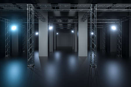 Cement and reinforcement with projector lamps in the dark room, 3d rendering. Computer digital drawing.