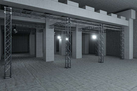 Cement and reinforcement with projectors, 3d rendering. Computer digital drawing. Banque d'images