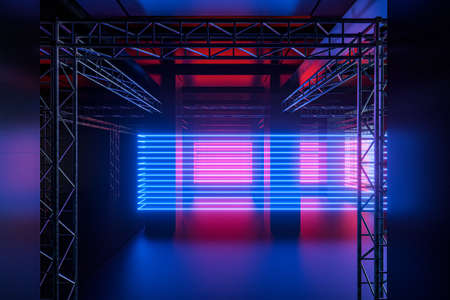 Cement and reinforcement, neon, 3d rendering. Computer digital drawing