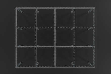 Refuerzo de acero con fondo oscuro, renderizado 3d. Dibujo digital por computadora. Foto de archivo