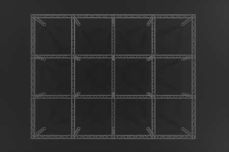 Wzmocnienie stalowe z ciemnym tłem, renderowanie 3d. Komputerowy rysunek cyfrowy. Zdjęcie Seryjne